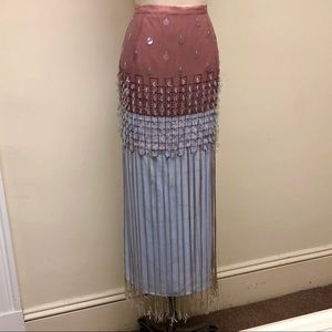 Beaded Color Block Couture Fringe Skirt